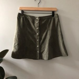 Abercrombie & Fitch Green Button A line skirt